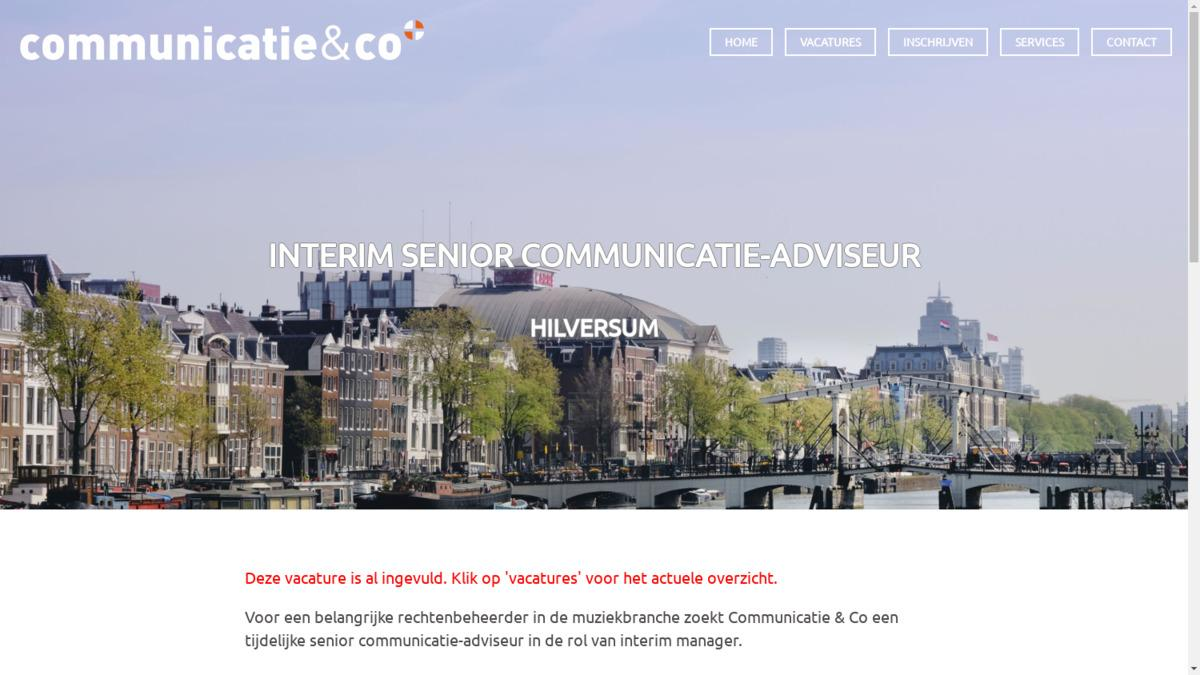 interim communicatie vacature
